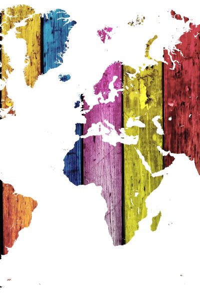 multi-colored map of the world